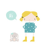 Little girl with bunny toy. Vector hand drawn illustration. - 211539871