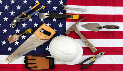 Labor Day holiday concept on cloth United States flag background