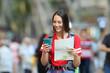 Leinwanddruck Bild - Teenage tourist searching destination online