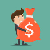 Businessman holding a bag with money.Vector illustration. - 211556600