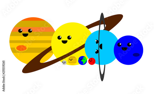 Fototapeta Cute illustration of the planets of the solar system