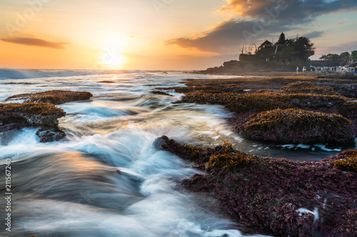 Fototapeta Seascape, Tanah Lot Temple in Bali, Indonesia. Famous landmark tourist attraction and travel destination