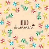 Hello summer card of people on the beach - 211576225