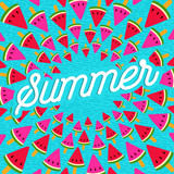 Summer greeting card of watermelon ice cream - 211576271