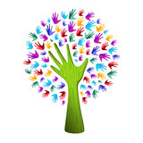 Colorful tree hand concept for nature team help - 211576417