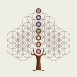 Flower of life concept tree with yoga chakras - 211576615
