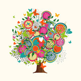 Spring tree concept made of hand drawn flowers - 211576642
