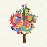 Colorful tree concept with fun geometric shapes - 211576652