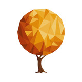 Abstract low poly style gold tree concept - 211576664