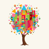 Colorful tree concept with fun geometric shapes - 211576670