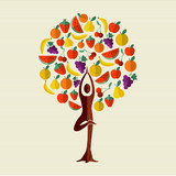 Health and fitness concept tree with fruit food - 211576811
