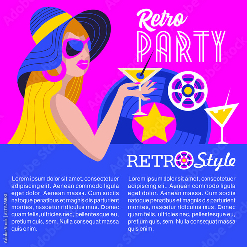 Retro disco party. Colorful vector illustration, poster.