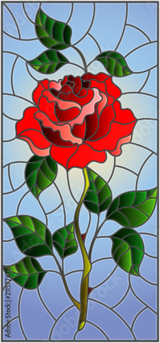 illustration-in-stained-glass-style-flower-of-red-rose-on-a-sky-background