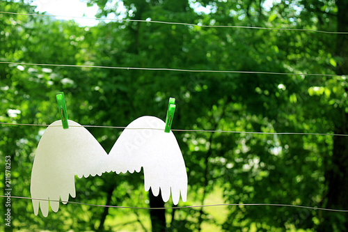 Wings of an angel hang on the background of a summer garden on a washing line - 211578253