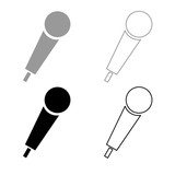 Hand microphone icon outline set grey black color - 211581678