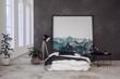 Leinwanddruck Bild - Schlafzimmer in einem Loft