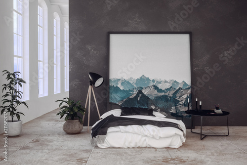 Leinwanddruck Bild Schlafzimmer in einem Loft