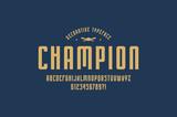 Decorative narrow sans serif font in sport style - 211584853