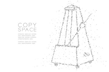 Abstract Geometric Low polygon square box pixel and Triangle pattern Metronome shape, music concept design black color illustration on white background with copy space, vector eps 10