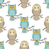 Owls seamless pattern.