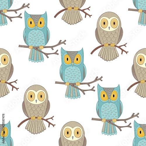 Fotobehang Uilen cartoon Owls seamless pattern.