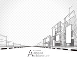 Architecture building perspective lines, modern urban architecture abstract background.  - 211587684