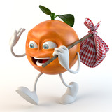 funny 3d fruit character with bindle