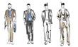 Fashion man. Set of fashionable men's sketches on a white background. Spring men.
