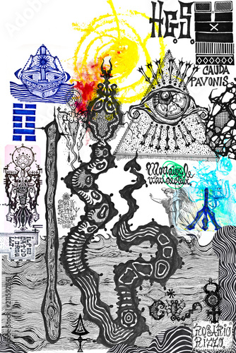 Aluminium Imagination Drawings and manuscripts with esoteric, alchemical and astrological signs and symbols