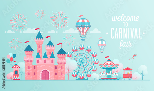Fototapeta Amusement park landscape banners with castle, carousels and air balloon.