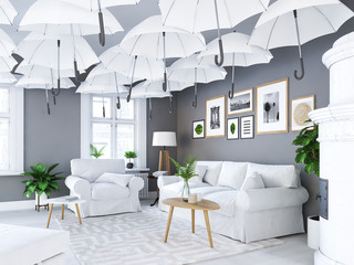 living room with picture frames and fireplace. covering umbrellas. 3d rendering