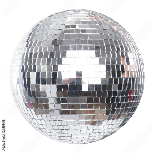 Shining Disco Ball Party Efect isolated on white - 211595418