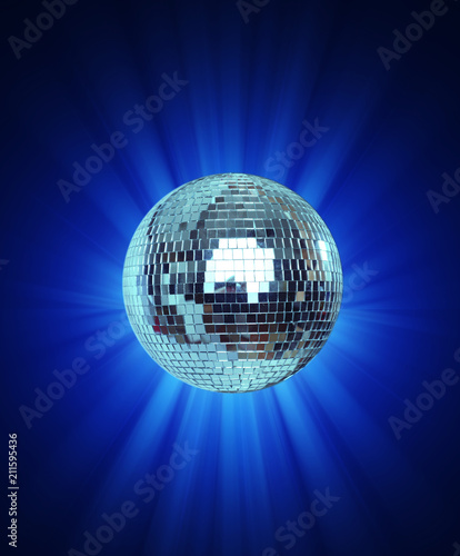 Shining Disco Ball on blue background light - 211595436
