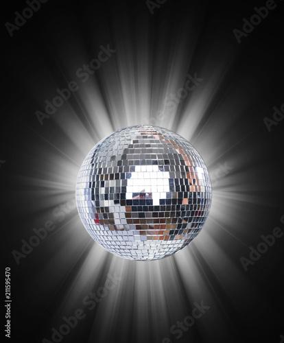 Fototapeta Shining Disco Ball on blue background light
