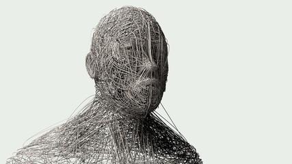 3D render. Human face art portrait © Miguel Aguirre