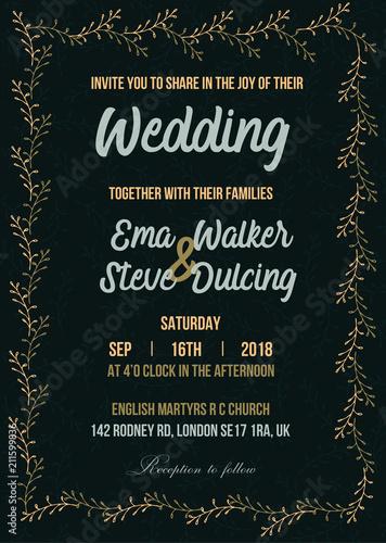 wedding invitation letter vector illustration