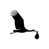 vector flying stork with baby silhouette
