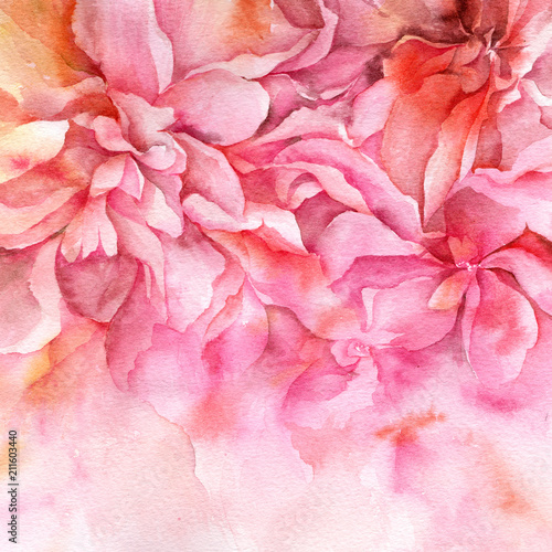 Watercolor abstract flowers. Pink floral illustration. Interior floral painting. Fine art. Wall art. Wedding invitation design.  - 211603440