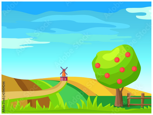 Aluminium Boerderij Rural Farm Landscape with Windmill on Field Vector