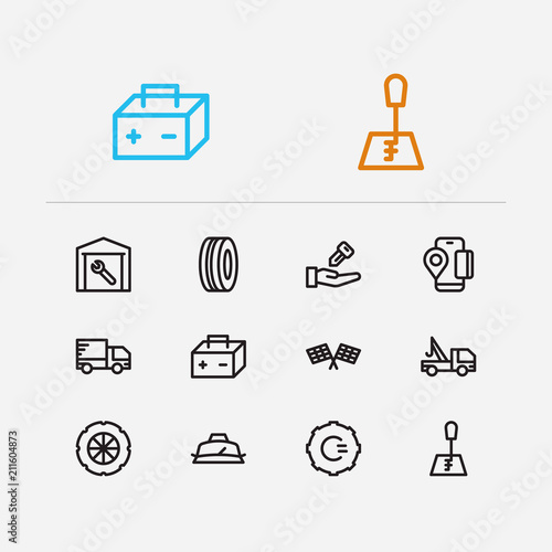 Auto Icons Set Gear Logo And Auto Icons With Car Battery Mobile