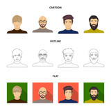 The face of a Bald man with glasses and a beard, a bearded man, the appearance of a guy with a hairdo. Face and appearance set collection icons in cartoon,outline,flat style vector symbol stock - 211606075