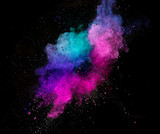 Colored powder explosion isolated on black background. - 211606097