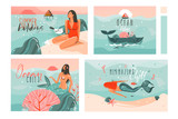 Hand drawn vector abstract graphic cartoon summer time flat illustrations cards template collection set with beach people,mermaid and whale,sunset and tropical birds isolated on white background - 211608272