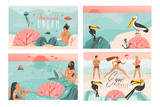 Hand drawn vector abstract graphic cartoon summer time flat illustrations cards template collection set with beach people,mermaid and whale,sunset and tropical birds isolated on white background - 211608450