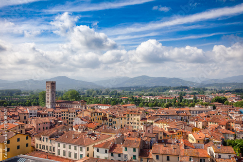 Lucca old town rooftop cityscape Tuscany Italy - 211608452