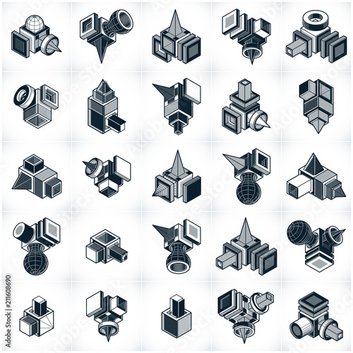 Abstract three dimensional shapes set, vector designs. - 211608690