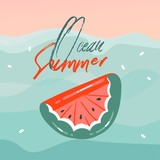 Hand drawn vector abstract cartoon summer time graphic illustrations cards with watermelon rubber float buoy in blue waves,sunset and Ocean Summer typography text isolated on pink pastel background - 211609013