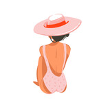 Hand drawn vector abstract graphic cartoon summer time flat illustrations with relaxing girl in pink hat isolated on white background - 211609293