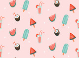 Hand drawn vector abstract graphic cartoon summer time flat illustrations seamless patterns with cocktails,watermelons and ice cream isolated on pink pastel background - 211609479