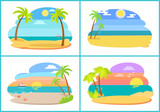 Seaside and Beach Collection vector Illustration